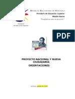 Proyecto Nacional y Nueva Ciudadanc3ada Orientaciones