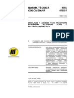 NTC 4702-7 Embalaje y Embase Para Mercancia Peligrosa Clase 7
