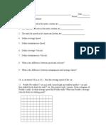 Speed and Velocity Practice Worksheet