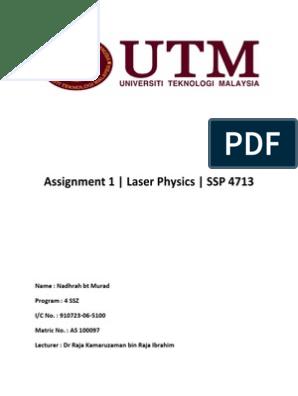 Assignment 1 Laser | Laser | Fluorescence