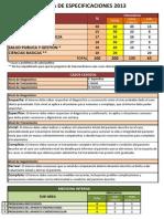 Especificaciones Enam 2013