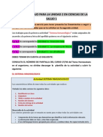 Plan de Trabajo Para La Unidad 2 en Ciencias de La Salud 1