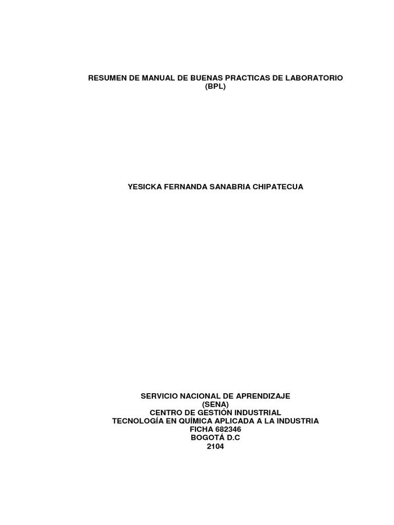 Resumen de Manual de Buenas Practicas de Laboratorio