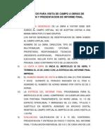 Lineamientos Para Visita de Campo a Obra e Informe
