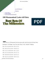 100 Harmonized Lotto 649 Bets