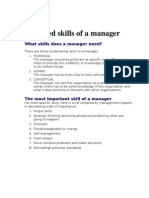 Required Skills of a Manager