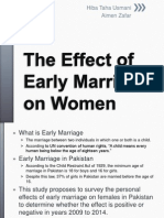 The Effect of Early Marriage on Women