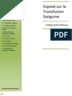 Expose en Svt Classe de 3eme La Transfusion Sanguine