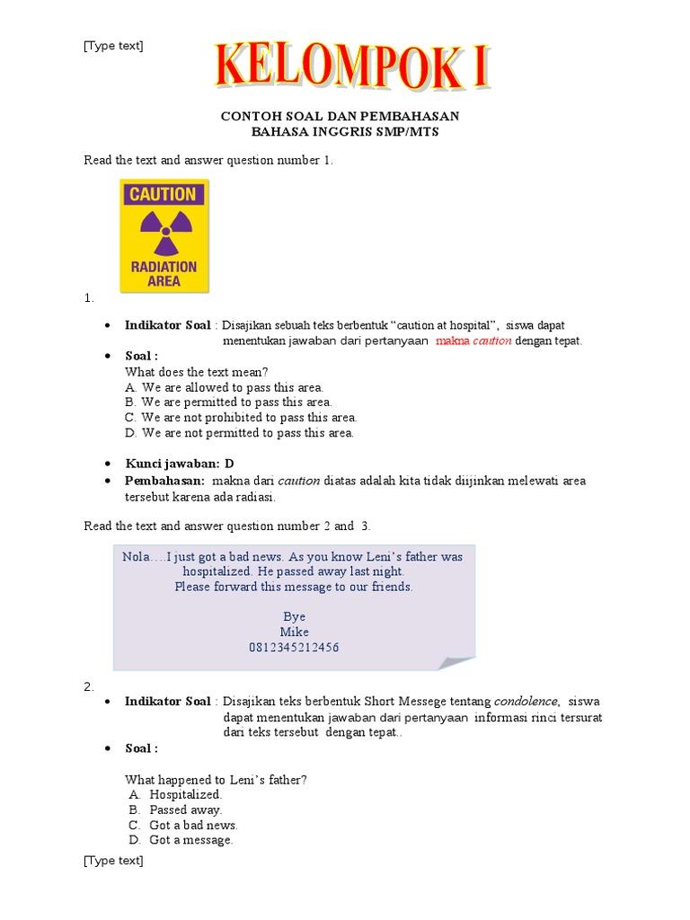 Contoh Soal Un Bahasa Inggris 1