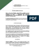 Acuerdo No. 007 de 2014 - Municipio de Caloto, Cauca