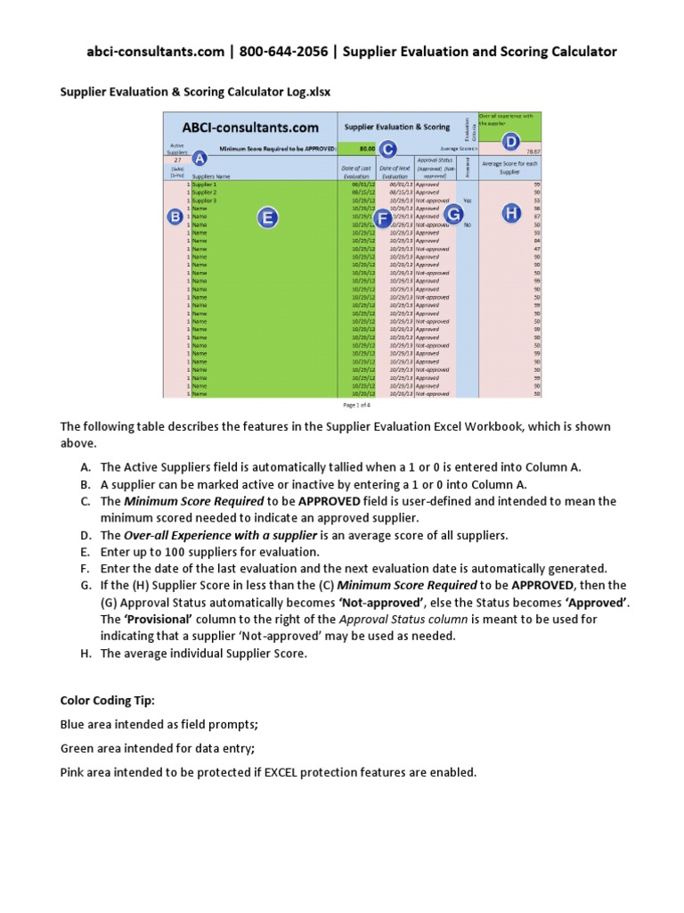 Supplier Evaluation Scoring Calculator Microsoft Excel Computing