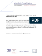 Las Funciones Docentes Presenciales y Virtuales Del Profesorado Universitario