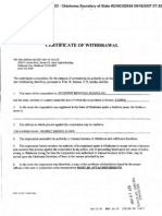 Southwest Beneficial Finance Inc. Certificate of Withdrawal