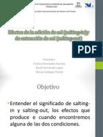 Efectos de La Adición de Sal (Salting-In)y