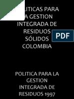 PRESENTACION Política Gestión Residuos Sólidos 1997