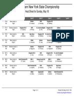 Eastern New York State Championship 2014 Sunday May 18 Heat Sheet