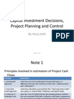 Capital Investment Decision, Project Planning and Control