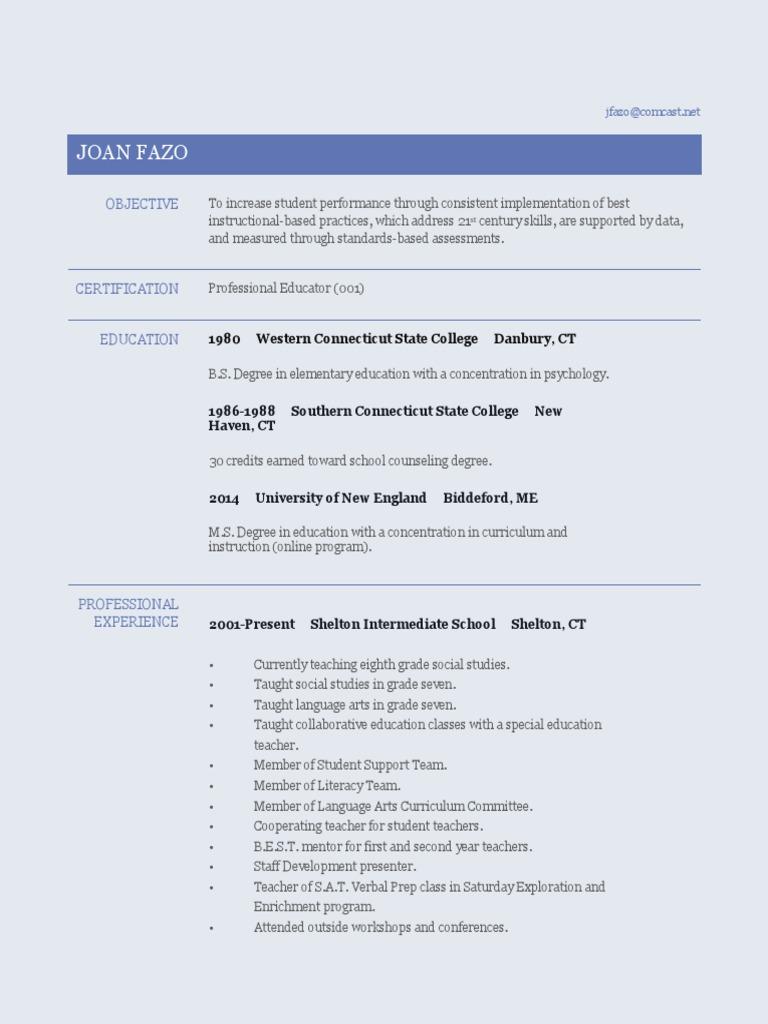 Jfazo Resume Teachers Primary Education