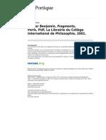 Leportique 196 9 Walter Benjamin Fragments Paris Puf La Librairie Du College International de Philosophie 2001