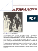 ECUMENISMUL - CONCLUZIILE CONFERINŢEI INTER-ORTODOXE DE LA TESALONIC