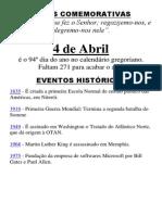 () 4 de Abril é o 94º dia do ano no calendário gregoriano.docx