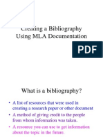 Creating a Bibliography Using MLA Standards