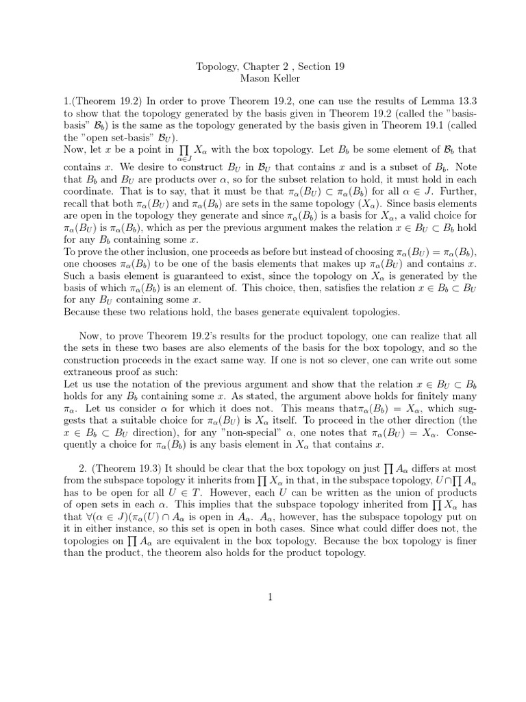 Topology, Section 19 | Basis (Linear Algebra) | Continuous ...