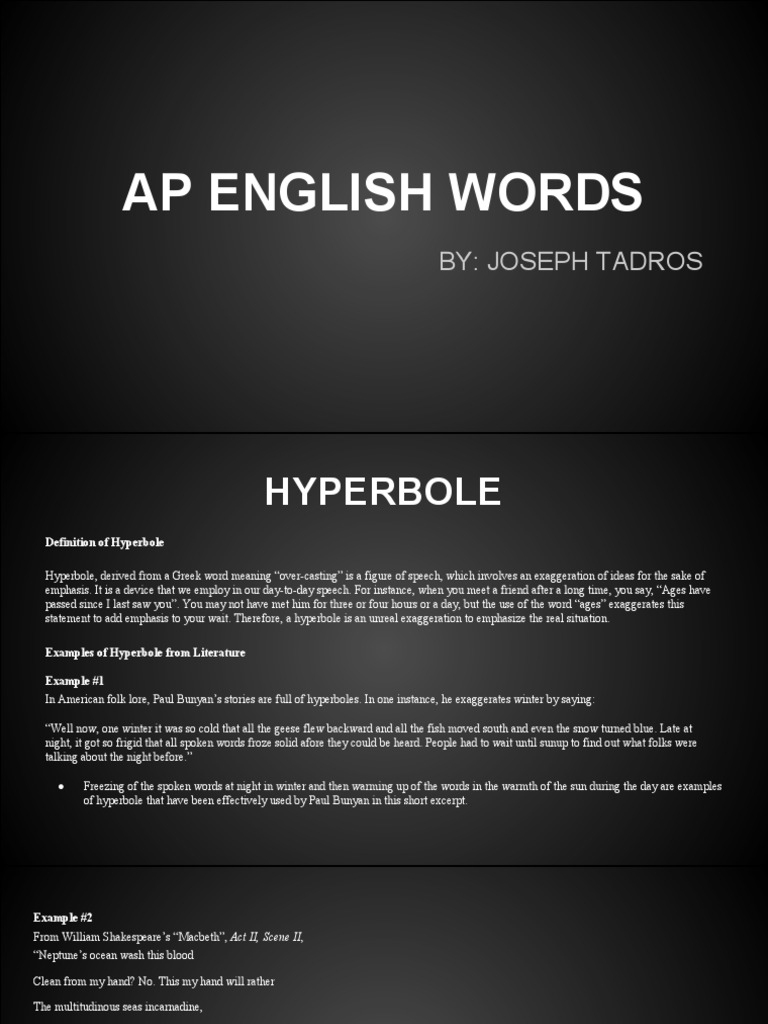 Short Examples Of Hyperbole Choice Image Example Cover Letter For