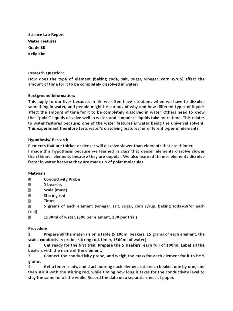 baking soda and vinegar lab report