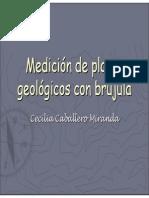 Medición de planos geológicos con brújula