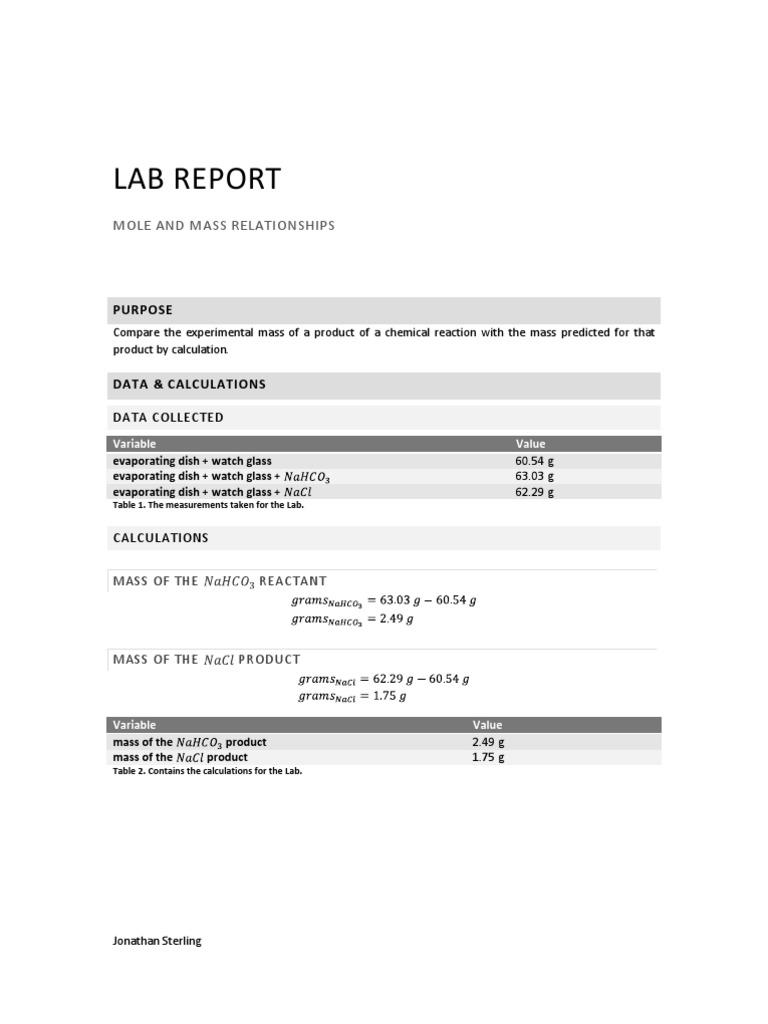 CHEM: Lab Report: Mole and Mass Relationships   Mole (Unit ...
