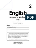 Gr 2 English Unit 1 Learner's Material