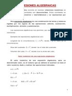 Expresiones algebraicas teoría