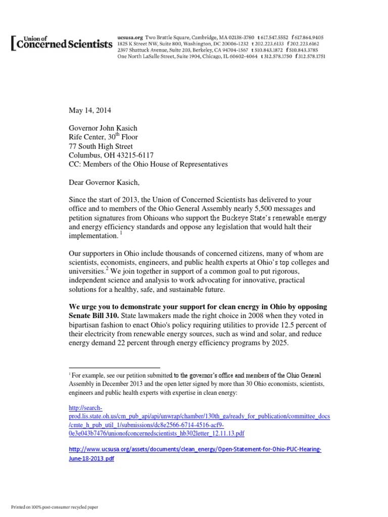 Letter urging Ohio Governor John Kasich to oppose Senate