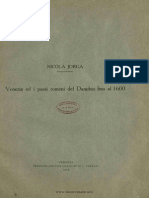 Venezia Ed i Paesi Romeni Del Danubio Fino Al 1600 - N. Iorga