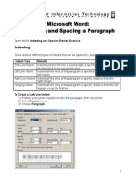 Microsoft Word Indenting and Spacing a Paragraph