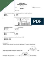 English Paper 1 & 2 Final First Semester Test