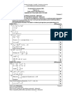 Examen Bacalaureat 2011 Proba E c Matematica M1 Varianta 2, Barem
