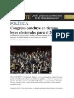 16-05-2014 El Financiero - Congreso concluye en tiempo leyes electorales para el 2015.
