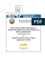 ORA Report on Revenues, Rate Design, And Special Requests No. 5, 6, 8, 9, 21, 24, 25
