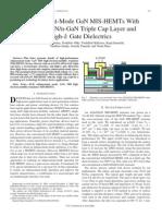 Enhancement-Mode GaN MIS-HEMTs With N-GaNi-AlNn-GaN Triple Cap Layer and High-ETx