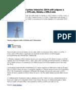 Terna trimestrale 2014 Utile Netto a 145,2 milioni