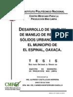 Desarrollo de Un Plan de Manejo de Residuos Sólidos Urbanos Instituto Politécnico Nacional