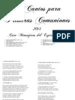 20 Cantos para Primeras Comuniones 2014-Coro Mensajeros del Espíritu Santo.pdf