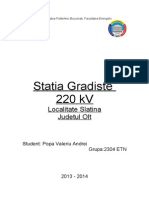 TemaPECS_Popa Valeriu Andrei_Statia Gradiste 220kV