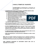 Documento Requisitos Pasaporte