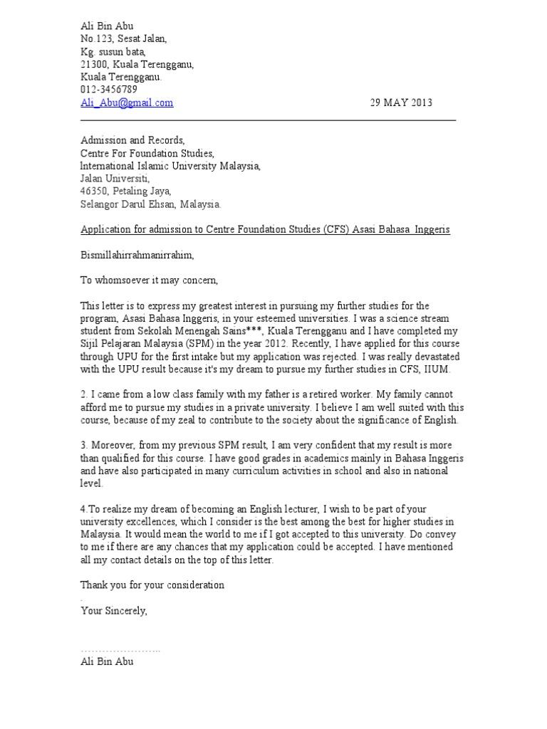 Contoh Surat Rasmi Rayuan Lesen Perniagaan Rasmi F