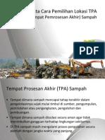 Tata Cara Pemilihan Lokasi TPA Sampah