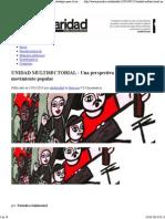 UNIDAD MULTISECTORIAL _ Una Perspectiva Estratégica Para El Movimiento Popular _ Solidaridad