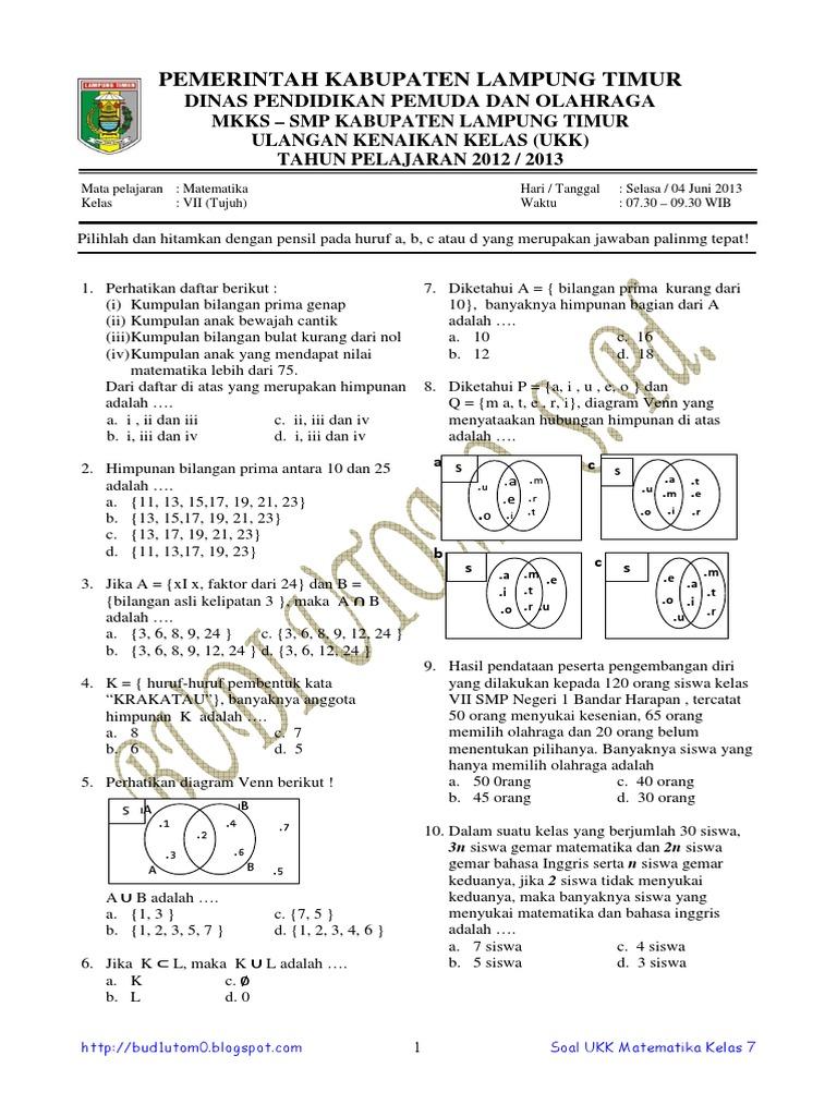 Soal dan pembahasan ukk matematika smp kelas 7 tahun 2013 ccuart Gallery